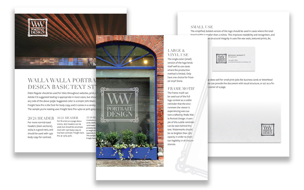 Pages from the Walla Walla Portrait Design brand guide